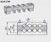 Kabelklem tussenstuk  KO4-27m  4x50mm2
